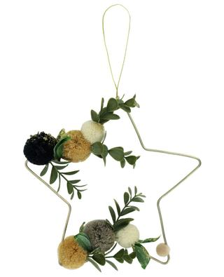 Leaf and pompon embellished star ornament KAEMINGK