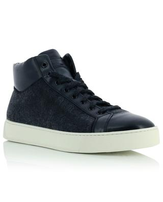 Fabric and leather high top sneakers SANTONI