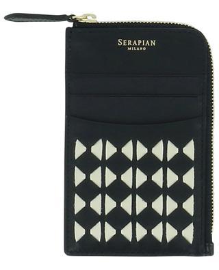 Porte-cartes avec poche zippée en cuir Mosaico SERAPIAN MILANO