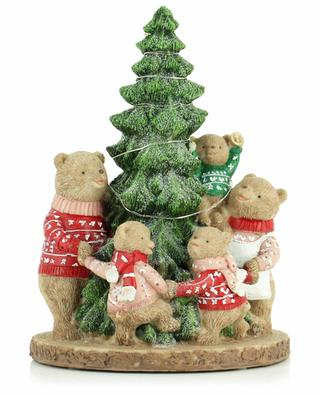 Family bear around the Christmas tree with lights KAEMINGK