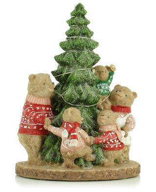 Family bear around the Christmas tree with lights KAEMINGK