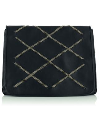 Grace Nash Cross Flap embroidered smooth leather handbag CALLISTA