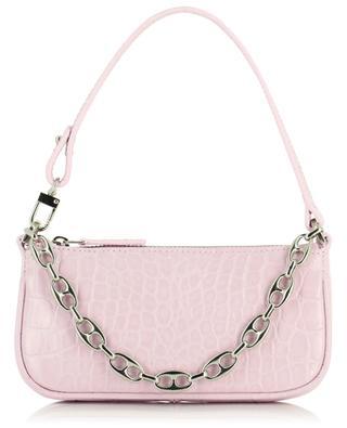 Mini Rachel Pink croc embossed leather handbag BY FAR