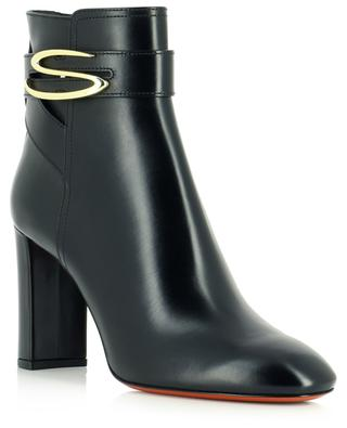 Heeled booties in smooth leather with S buckle SANTONI