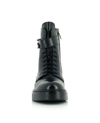 Grained leather combat boots with S buckle SANTONI