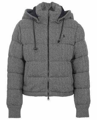 Boxy cable knit wool and cashmere down jacket POLO RALPH LAUREN