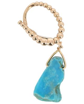 Goutte single pink gold earring with turquoise GBYG