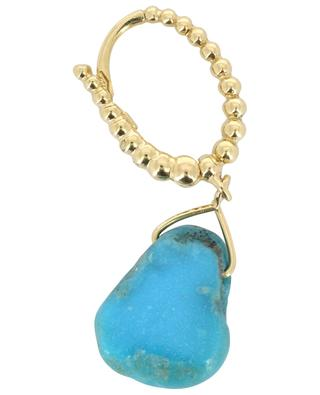 Goutte single earring in yellow gold with turquoise GBYG