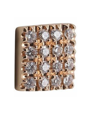 Einzelner quadratischer Ohrstecker aus Roségold mit Diamanten Pic GBYG