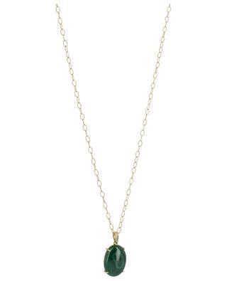 Halskette aus Gelbgold mit Diamanten und Malachit Rabat GBYG