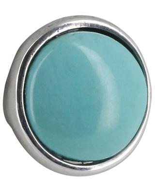 Bouton turquoise and white gold single ear stud GBYG