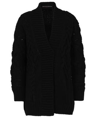 Oversize cable knit cardigan with sparkling safety pin ERMANNO SCERVINO