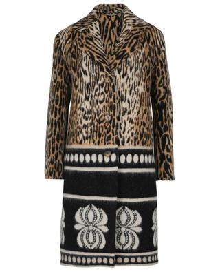 Manteau oversize épais imprimé ocelot et motifs ethniques ERMANNO SCERVINO