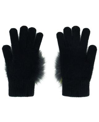 Knit gloves with fox fur pompon YVES SALOMON