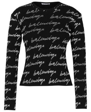 Signature logo printed rib knit crewneck sheath jumper BALENCIAGA