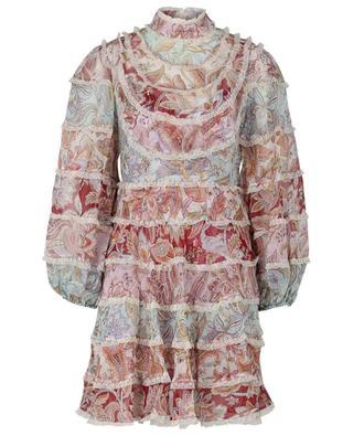 Robe courte en soie et dentelle imprimé Paisley Ladybeetle ZIMMERMANN
