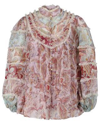 Paisley Ladybeetle print silk and lace blouse ZIMMERMANN