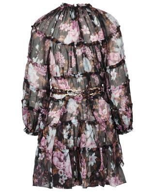 Kurzes Kleid aus Seide mit Blumenprint und Gürtel Charm Tiered ZIMMERMANN