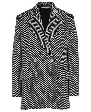Black and white pea coat with chevron pattern STELLA MCCARTNEY