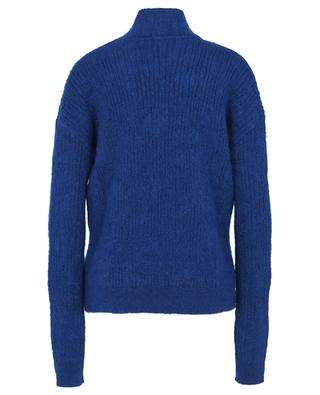 Boxy rib knit mohair blend jumper with stand-up collar SAINT LAURENT PARIS