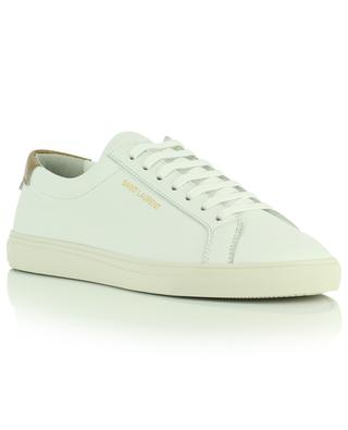 White and metallic leather low-top lace up sneakers Andy SAINT LAURENT PARIS