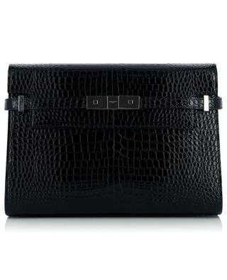 Manhattan patent croc effect leather shoulder bag SAINT LAURENT PARIS