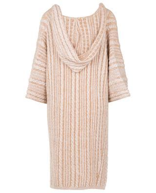 Cape torsadée à capuche en laine vierge et mohair mélangés CHLOE