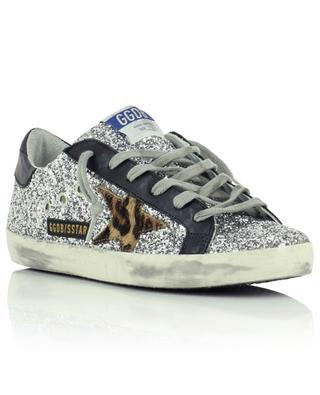 Silberne Glittersneakers mit Leopardenstern Superstar GOLDEN GOOSE