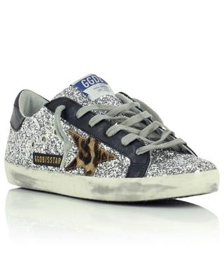 Superstar silver glitter sneakers with horsy leopard star GOLDEN GOOSE