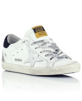 Sneakers aus Used-Leder mit Silberstern und Glitter-Wildleder Superstar GOLDEN GOOSE