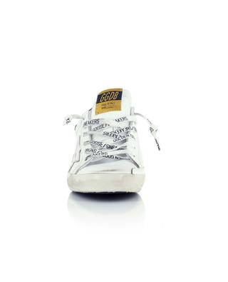 Superstar distressed leather sneakers with silver star and glitter suede GOLDEN GOOSE