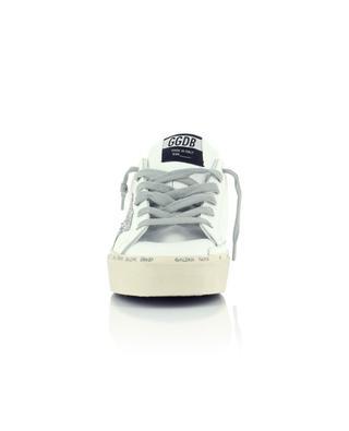 Plateau-Sneakers aus weissem Leder, Metallic-Leder und Glitterstern Hi-Star GOLDEN GOOSE