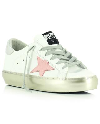 Baskets en cuir blanc à plateau argenté et étoile rose Hi Star GOLDEN GOOSE
