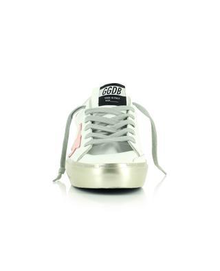 Sneakers aus weissem Leder mit silbernem Plateau und rosa Stern Hi Star GOLDEN GOOSE