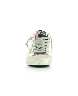 Baskets montantes en cuir blanc, daim et paillettes roses Mid Star GOLDEN GOOSE