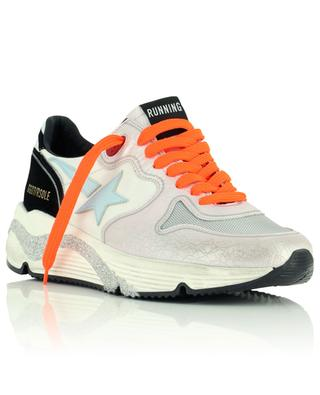 Running Sole multi-material sneakers with pink cracked and silver details GOLDEN GOOSE