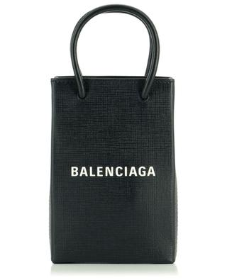 Mini-sac porté épaule en cuir texturé Shopping Phone Holder BALENCIAGA