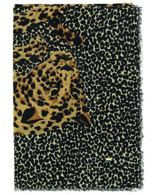 Foulard carré en sergé de laine Multi Leo YSL SAINT LAURENT PARIS
