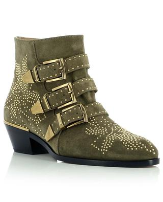 Susanna heeled suede ankle boots embellished with golden studs CHLOE