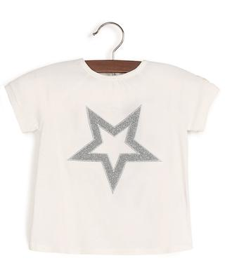 Short-sleeved baby T-shirt with silver star embroidery MONCLER