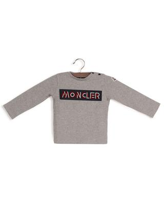 Long-sleeved baby T-shirt with logo flock print MONCLER