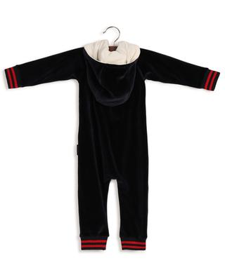Hooded velvet baby jumpsuit with logo patch MONCLER