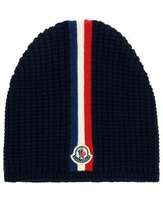 Rippstrick-Mütze aus Schurwolle mit Logo MONCLER