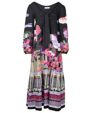 Bianca Frida Bow long A-line silk dress LIBERTY LONDON