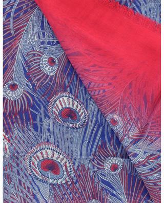 Hera peacock feather printed modal and silk scarf Hera LIBERTY LONDON