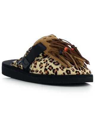 Leopardenprint-Pantoletten in Pony-Optik aus Leder Suicoke ALANUI