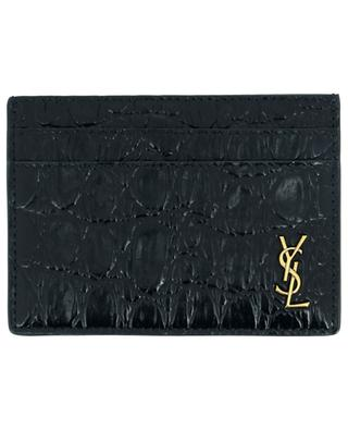 Tiny Monogram croc effect leather card case SAINT LAURENT PARIS