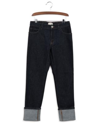 Gucci Web dark washed jeans with turn-ups GUCCI