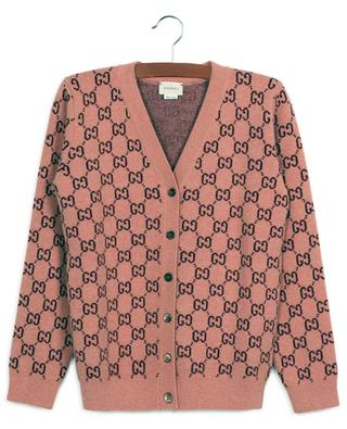 GG Jacquard button-down V-neck cardigan in wool GUCCI