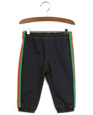 Baby-Hose aus Sweat in Jeans-Optik mit Bändern Web GUCCI